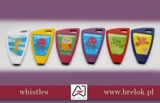 Whistles with epoxy sticker