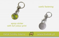Trolley tokens with epoxy sticker