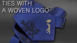 ties with a woven logo