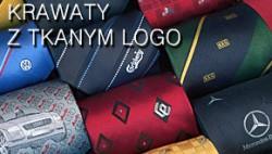 krawaty z tkanym logo